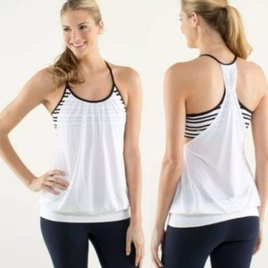 Lululemon No Limit BlackWhite Twin Stripe Tank Top